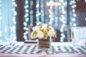 Lights and Flowers Tablescape